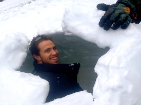 Geordie in igloo